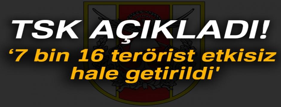 TSK'dan 2017'de   '7 bin 16 terörist etkisiz hale getirildi'