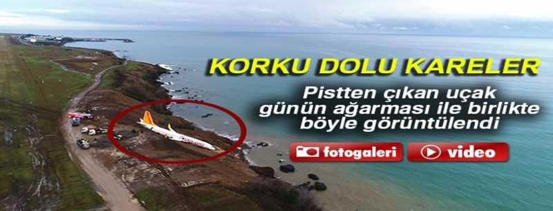 Trabzon'da pistten çıkan uçak günün ağarması ile birlikte havadan görüntülendi