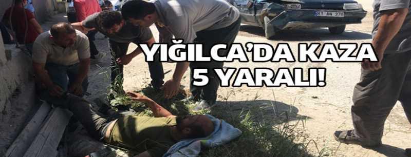 Yığılca'da,motosiklet ve otomobil çarpıştı; 5 yaralı