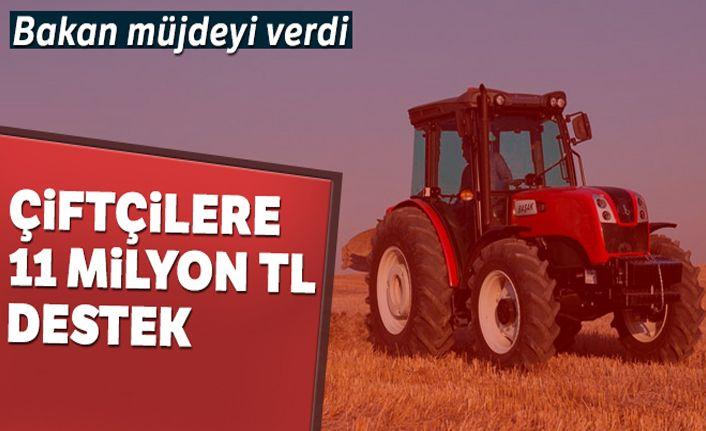 Çiftçilere 11 milyon TL destek