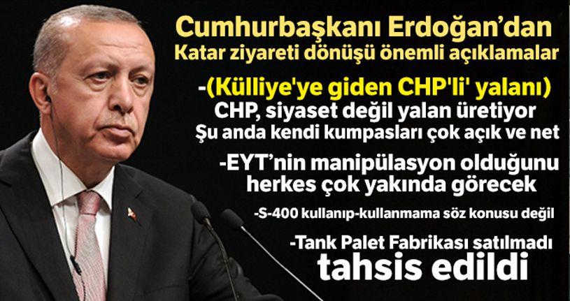 Cumhurbaşkanı Erdoğan: 'CHP siyaset değil yalan üretiyor'