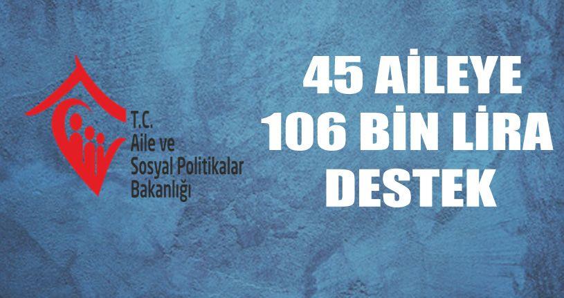 45 Aileye 106 bin lira destek verildi