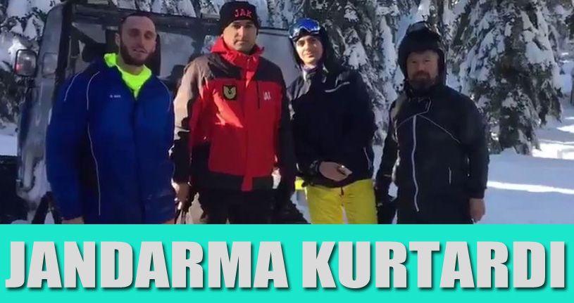 Kartalkaya'da kaybolan 3 kayakçıyı jandarma kurtardı