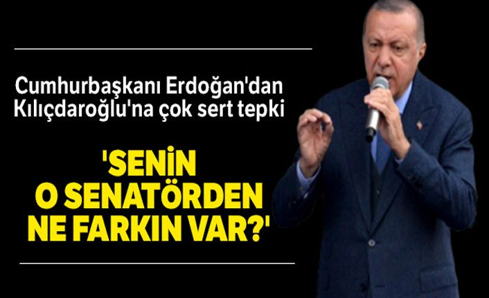 Cumhurbaşkanı Erdoğan'dan Kılıçdaroğlu'na: 'Senin O senatörden ne farkın var?'