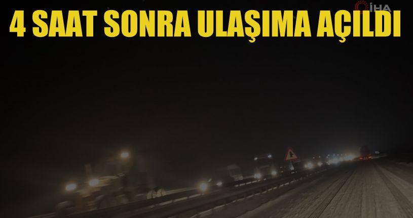 Bolu'da, ulaşıma kapanan Karabük-Gerede yolu 4 saatin sonunda açıldı