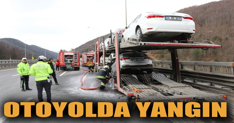 Sıfır otomobil yüklü tır yandı 2 araç hasar gördü