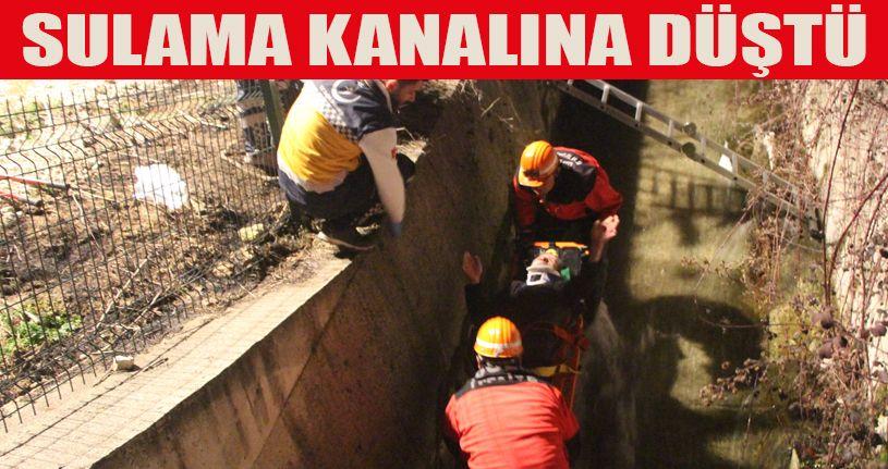 Sulama kanalına düşen  adamı itfaiye kurtardı