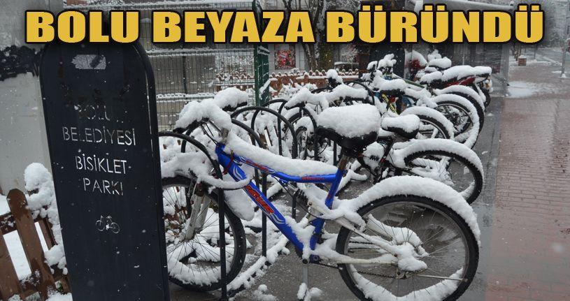 Bolu yağan karla beyaza büründü