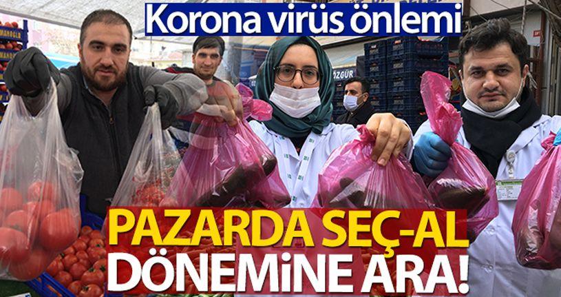 Pazar tezgahlarında korona virüs önlemi, seç al dönemi bitti