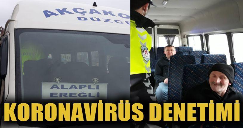Akçakoca'da polisten otobüslerde korona virüs denetimi