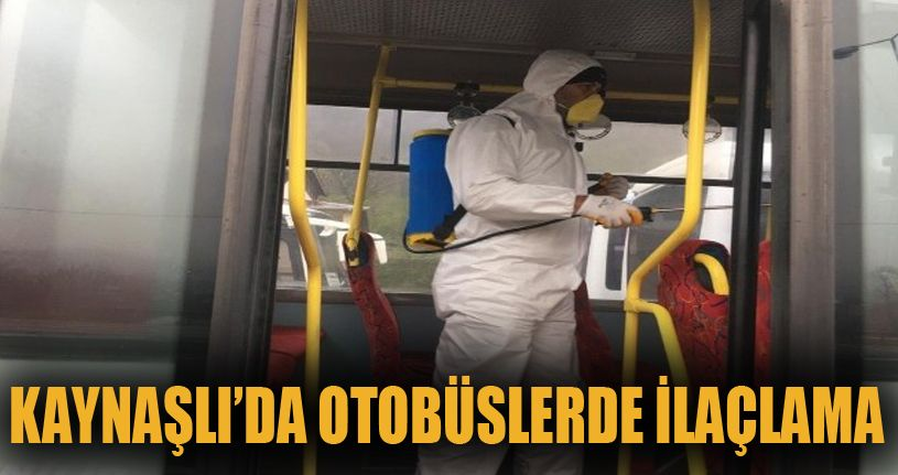 Kaynaşlı'da otobüsler dezenfekte edildi