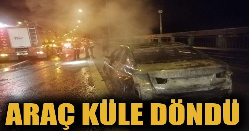 Bolu'da, yanan araç küle döndü