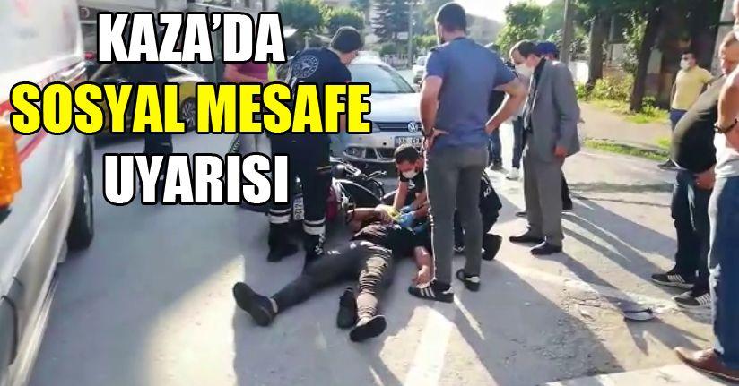 Polisten kazayı izleyen vatandaşlara sosyal mesafe uyarısı
