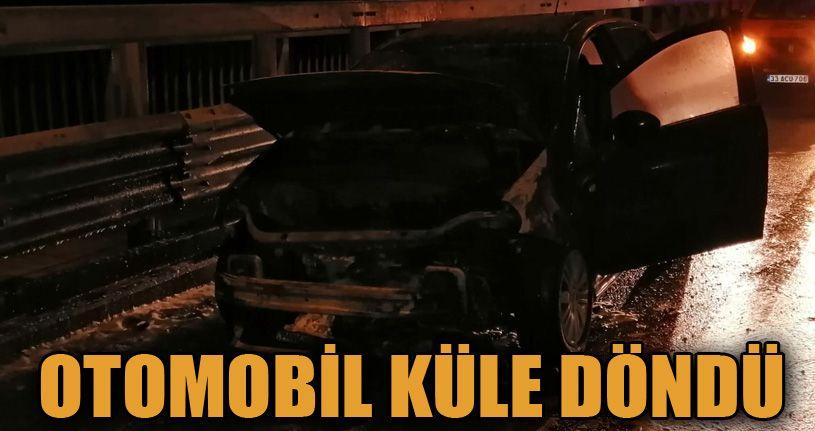 TEM Otoyolu'nda yanan otomobil kullanılamaz hale geldi