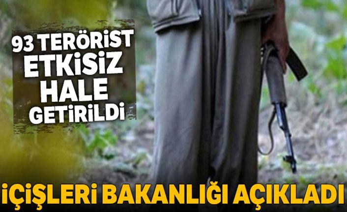 İçişleri Bakanlığı açıkladı! 93 terörist etkisiz hale getirildi