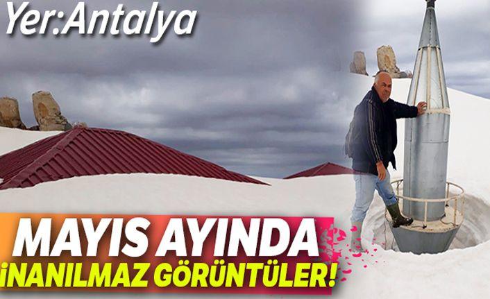 Antalya'da Mayıs ayında 2,5 metrelik inanılmaz kar manzarası