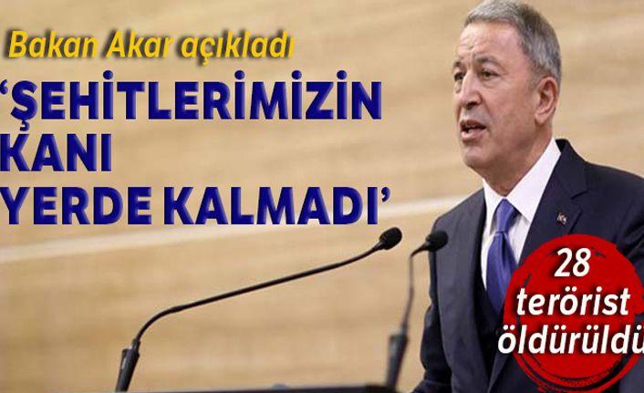 Milli Savunma Bakanı Akar: '28 PKK/YPG'li terörist etkisiz hale getirildi'
