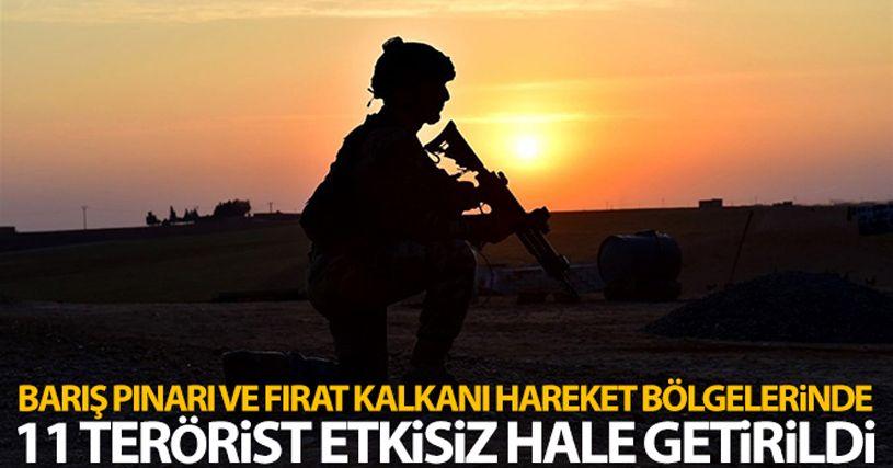Barış Pınarı ve Fırat Kalkanı bölgelerinde 11 terörist etkisiz hale getirildi