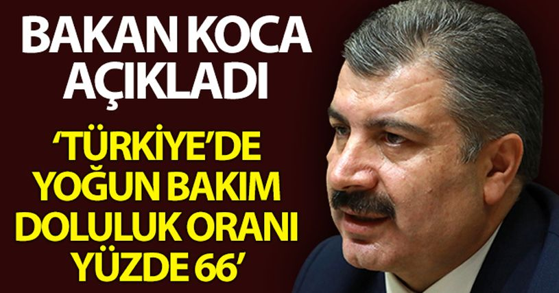 Bakan Koca: 'Türkiye genelinde yoğun bakım doluluk oranı yüzde 66'