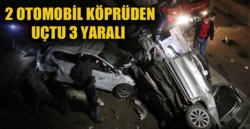 2 otomobil 4 metrelik köprüden aşağı uçtu: 3 yaralı