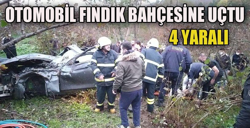 Otomobil fındık bahçesine uçtu: 4 yaralı