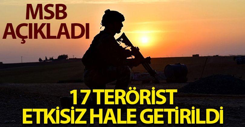 MSB: '17 PKK/YPG'li terörist etkisiz hale getirildi'
