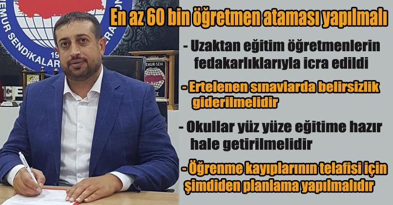 """Eğitim-Bir-Sen Başkanı Çelebi: """"Yarıyıl tatili yüz yüze eğitime hazırlık dönemi olmalıdır"""""""