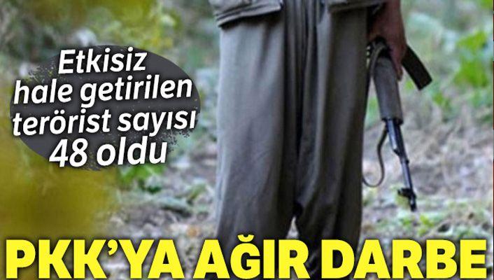 PKK'ya darbe, etkisiz hale getirilen terörist sayısı 48 oldu