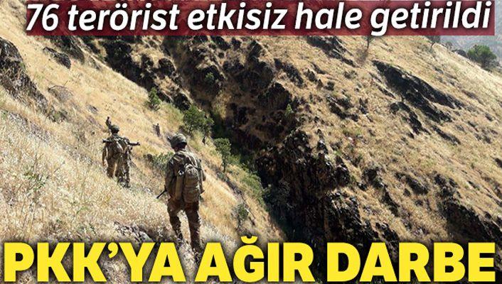 Pençe harekatı kapsamında son 3 haftada 76 PKK'lı terörist etkisiz hale getirildi