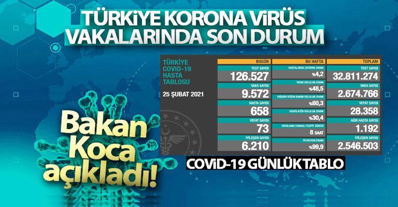 25 Şubat 2021 Korona Virüs Tablosu
