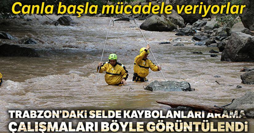 Araklı'daki selde kaybolan 3 vatandaşı bulmak için verilen mücadele havadan böyle görüntülendi