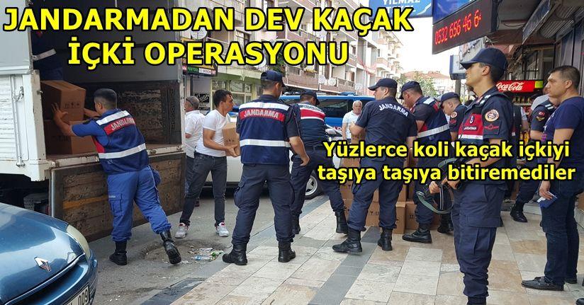 Jandarma yaptığı operasyonla binlerce şişe kaçak içki yakaladı
