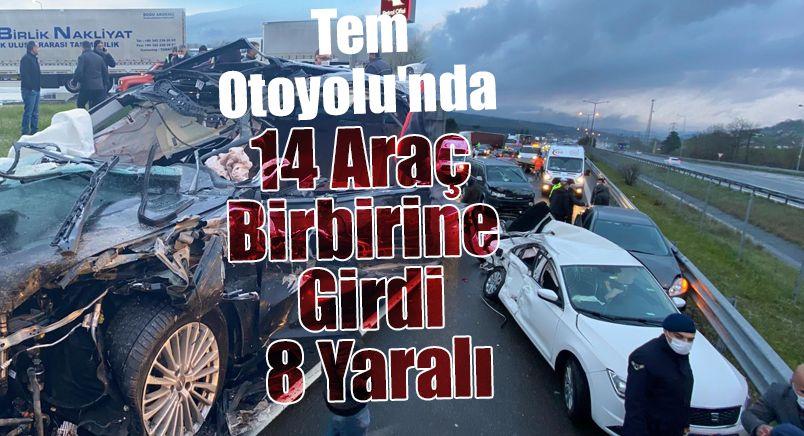 Tem Otoyolu'nda 14 Araç Birbirine Girdi: 8 Yaralı