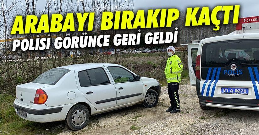 Ehliyetsiz Sürücü Polisi Görünce Aracı Bırakıp Kaçtı
