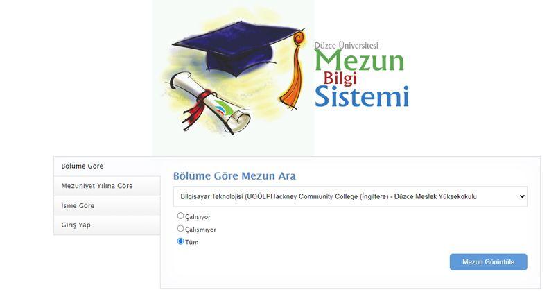 Düzce üniversitesi mezun bilgi sistemini hizmete sundu