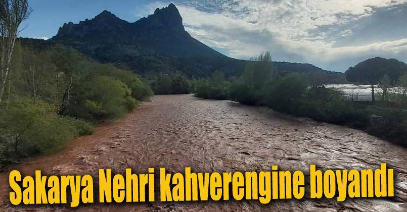Yağışların etkisiyle Sakarya Nehri kahverengine boyandı