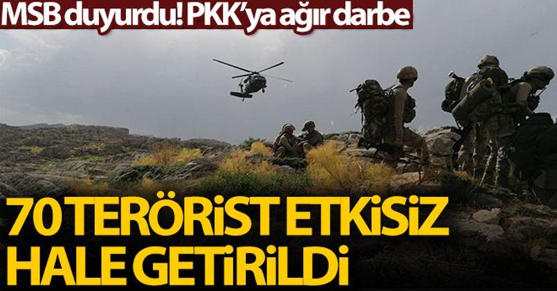 MSB: '2 PKK'lı terörist daha etkisiz hale getirildi, toplamda sayı 70'e yükseldi'
