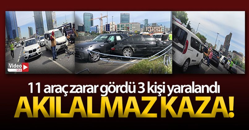 11 aracın karıştığı akılalmaz kaza kamerada: 4 yaralı