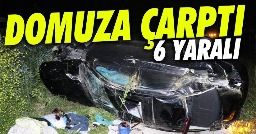 Lüks otomobil otoyolda önüne çıkan domuza çarparak şarampole uçtu: 6 yaralı