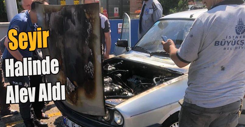 Motor kısmından alev alan otomobil kullanılamaz hale geldi