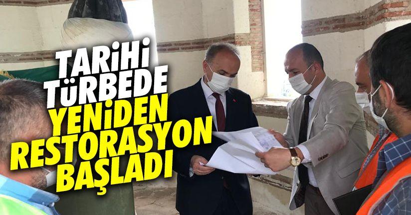 Tarihi Türbe de restorasyon yeniden başladı