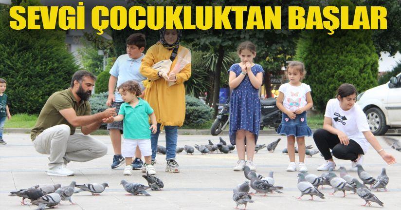 Çocukların güvercin sevgisi