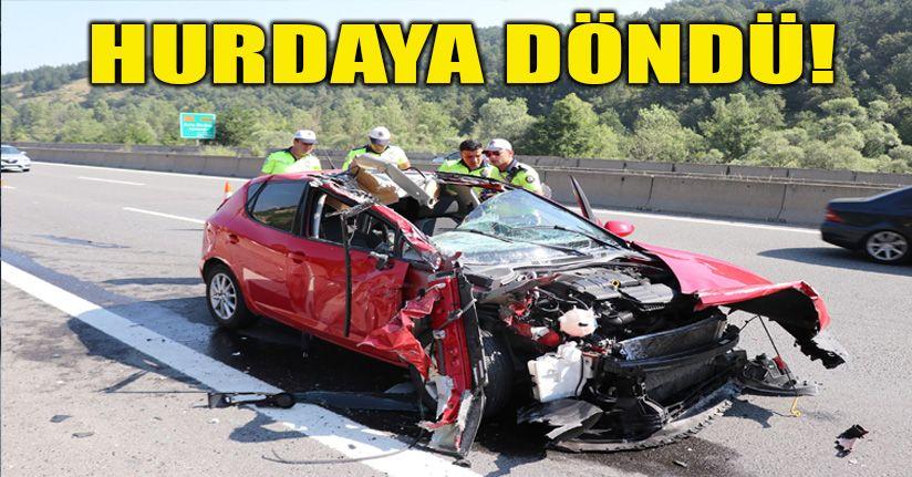 Otomobil tıra arkadan çarptı; 2 yaralı