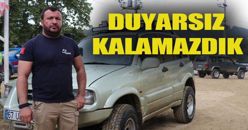 Off-Road tutkunları selzedelere yardım etmek için araçlarını feda etti