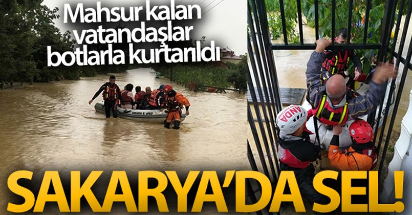 Selde mahsur kalan vatandaşlar botlarla kurtarıldı!