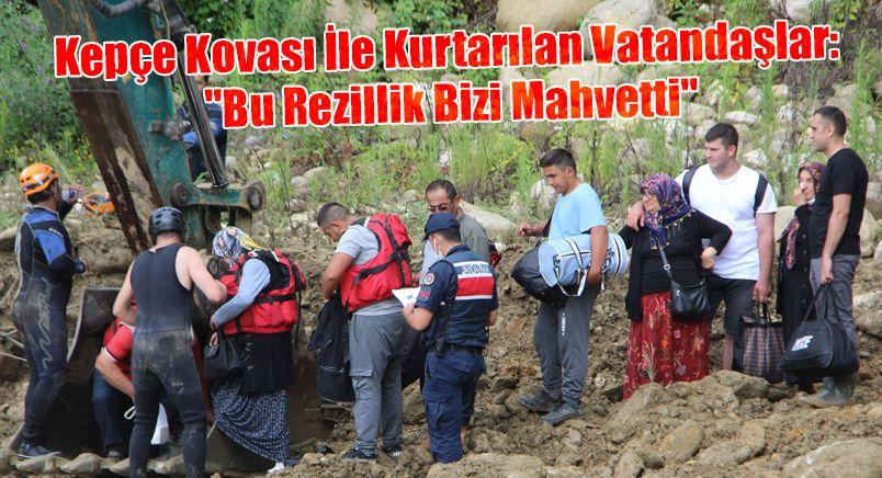 Kepçe Kovası İle Kurtarılan Vatandaşlar: