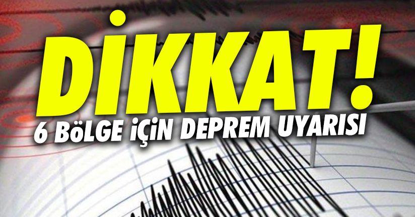 Düzce dahil 6 bölge için deprem uyarısı