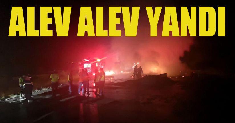 TEM Otoyolu'nda mukavva yüklü kamyon alev alev yandı