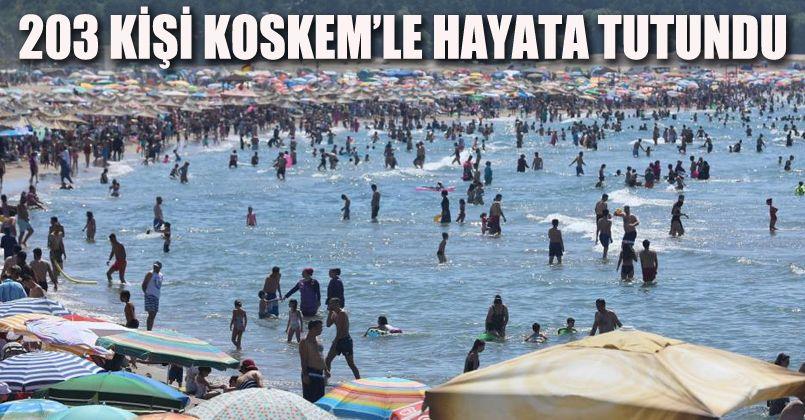 Sahillerde 203 kişi KOSKEM'le hayata tutundu