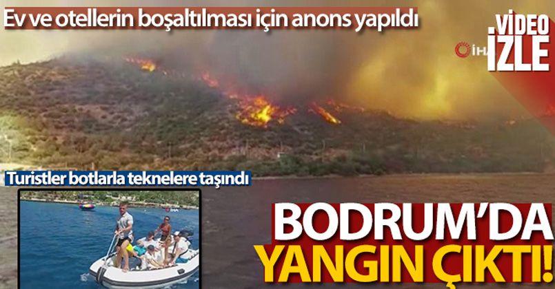 Bodrum'daki yangın kısa sürede büyüdü, turistler botlarla teknelere taşındı